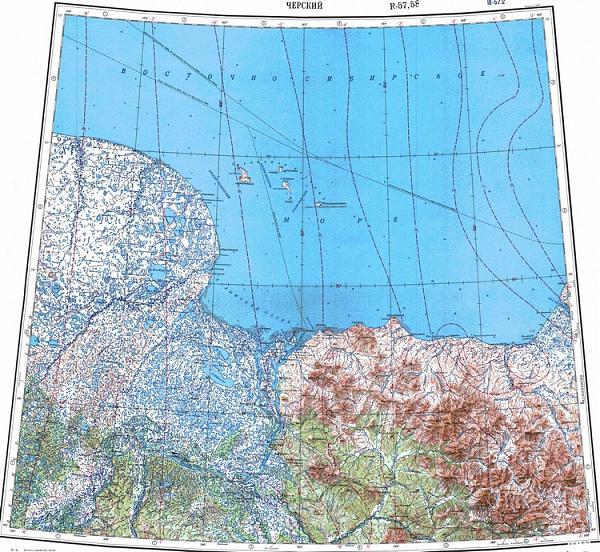 Карта Восточно-Сибирского моря с Медвежьим архипелагом