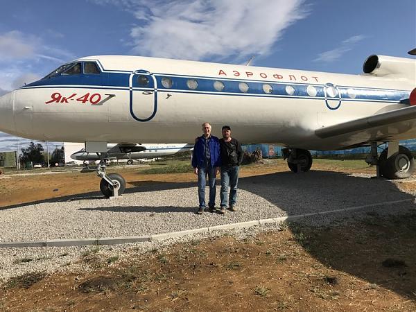 В музее самолетов под открытым небом. Легендарный ЯК-40. Перед вылетом в Москву.