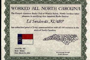 WANC (WORKED ALL NORTH CAROLINA COUNTIES AWARD)