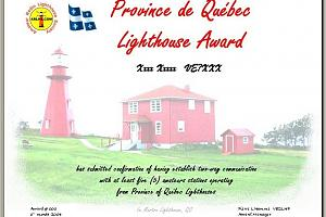 PROVINCE OF QUEBEC LIGHTHOUSE AWARD