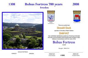 BOHUS FORTRESS 700 YEARS AWARD