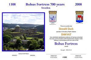 BOHUS FORTRESS 700 YEARS AWARD