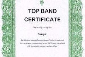 TOP BAND CERTIFICATE