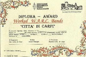 "WORKED WARC BANDS ""CITTA DI CARPI"" AWARD"