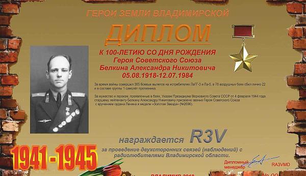 К 100-летию со дня рождения Героя Советского Союза Белкина А.Н.