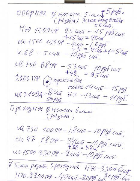 Продам проходные конденсаторы