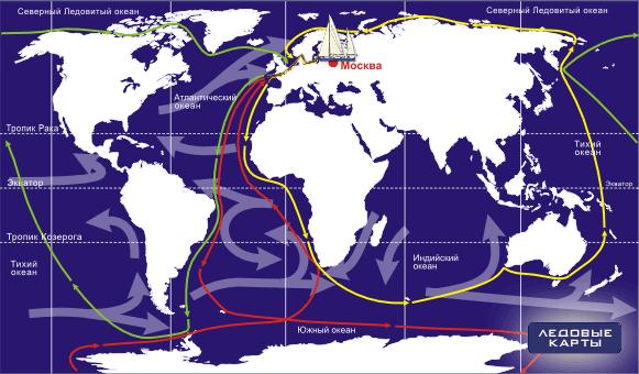 маршруты плаваний яхты Апостол Андрей