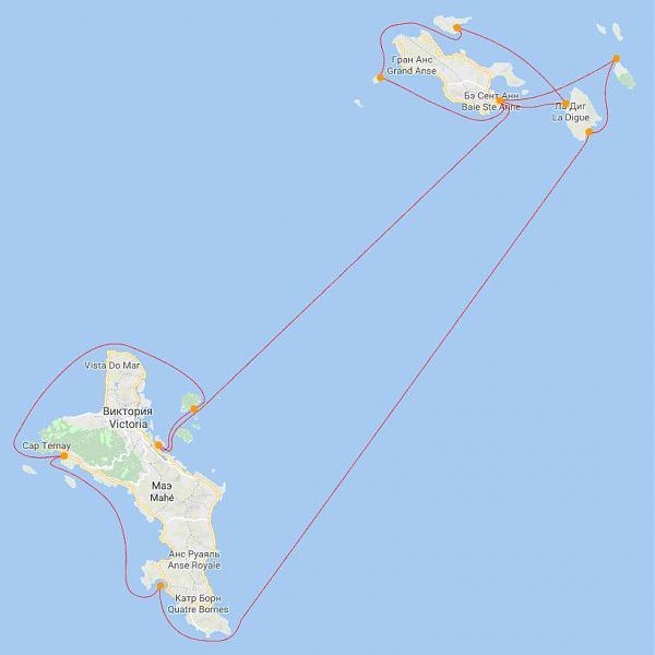 карта маршрута по Сейшелам S79AM