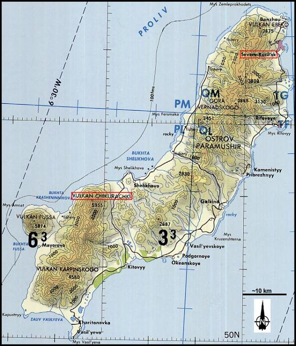 карта Парамушира