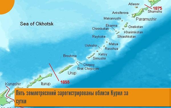 карта землетрясений Курильских островов