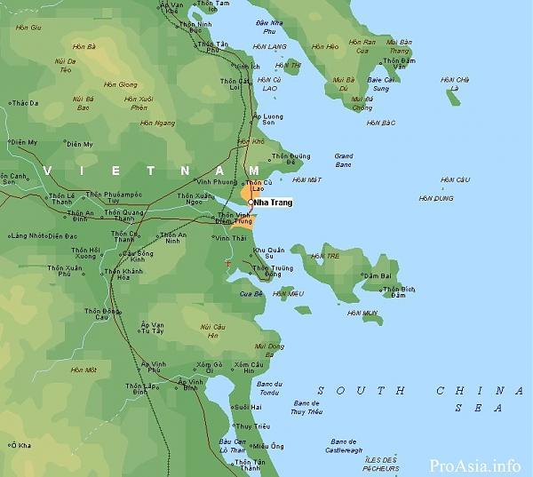карта группы островов около Хон Че