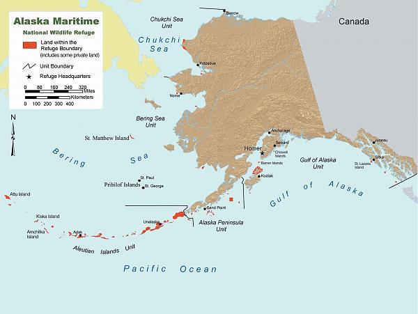 Карта заповедных территорий Аляски