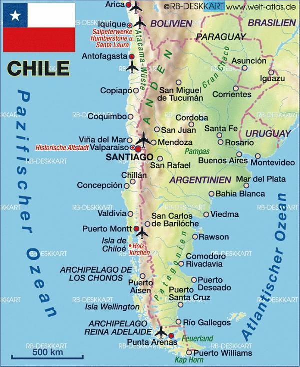 карта юга Чили