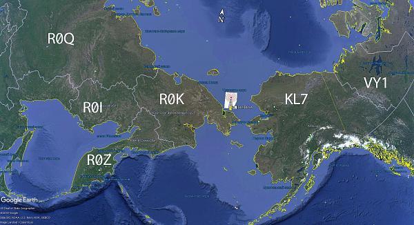 карта Чукотки с отметкой QTH