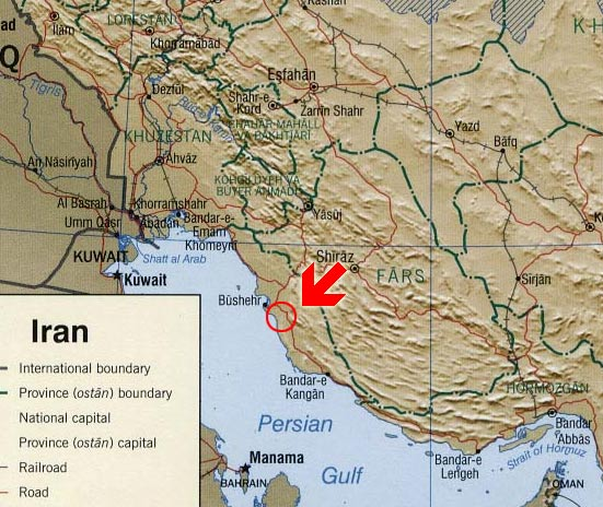 Место наблюдения: LL58KX, провинция Бушер, юг Исламской Республики Иран