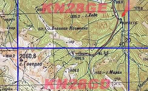 Карта окрестностей горы Говерла. Масштаб: 1 см = 1 км.