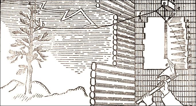 """Рис.4 Репродукция с иллюстрации М.В.Ломоносова из его доклада в Академии наук: """"Громовая машина"""" М.В.Ломоносова."""