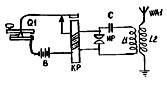 """Принципиапьная схема искрового радиопередатчика Ф. Брауна (так называемый """"отправитель Браунам)."""