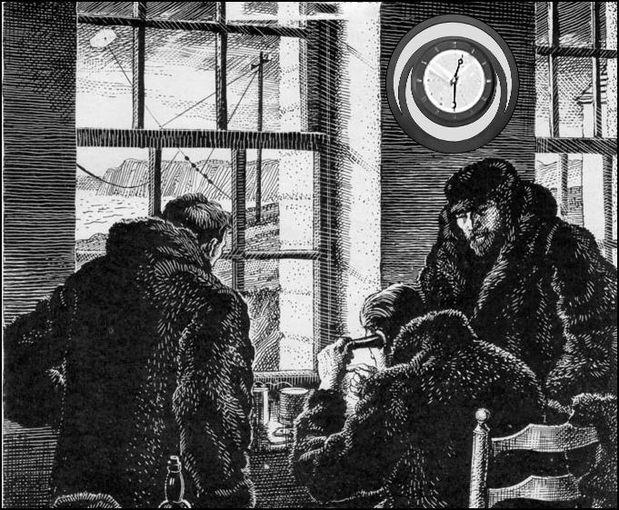"""Рис.16  Репродукция с картины художника: Г.Маркони в окружении ассистентов """"cлушает точки"""", приходящие извне в помещение госпиталя на о.Ньюфаундленд в декабре 1901 года."""