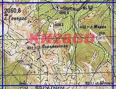 Карта квадрата KN28GD. Масштаб: 1 см = 1 км.