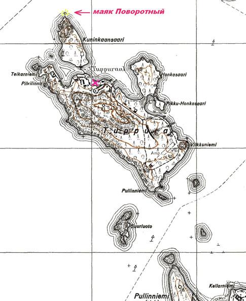 На трофейной карте острова место расположения нашего походного шека  отмечено красным крестиком