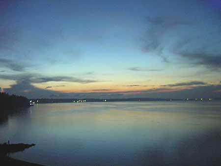 """Вид на закат над Обским морем в пансионате """"Лесная сказка"""""""