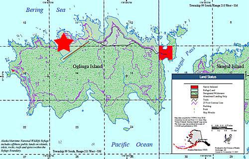 Карта острова Оглиуга (отмечена точка работы в эфире)