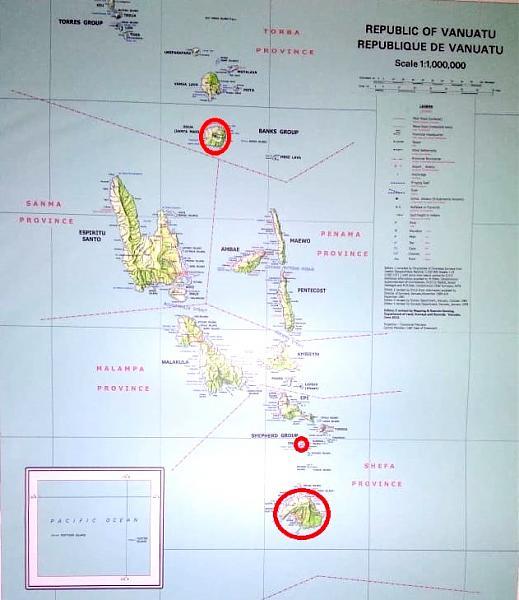 Карта островов Вануату