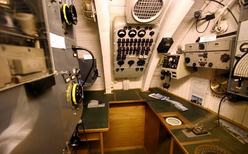 Радиорубка немецкой подводной лодки U 995. Справа виден радиоприемник T3PLLä38, под ним в столе находится репитер гирокомпаса, связанный с радиоприемником и рамочной антенной.