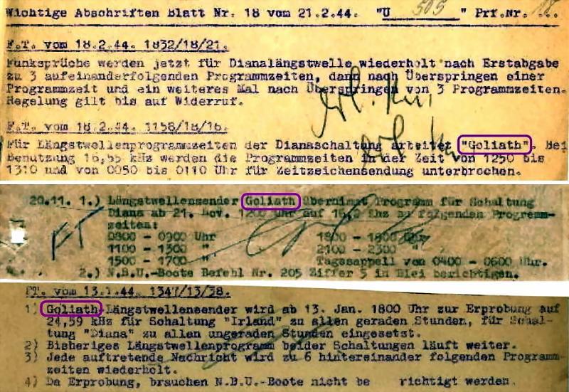 Фрагменты радиодокументов немецкой подводной лодки U 505 с частотами и временем передач с «Голиафа».