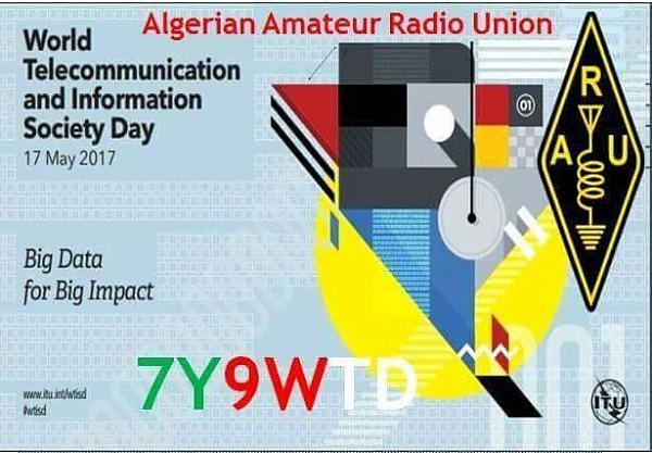 Алжир 7Y9WTD Всемирный день телекоммуникаций Специальная радиолюбительская станция Логотип