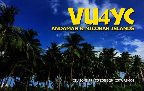VU4YC Андаманские острова Радиолюбительская DX экспедиция QSL