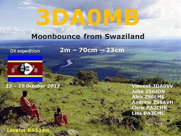 Свазиленд 3DA0MB EME DX экспедиция Радиолюбители