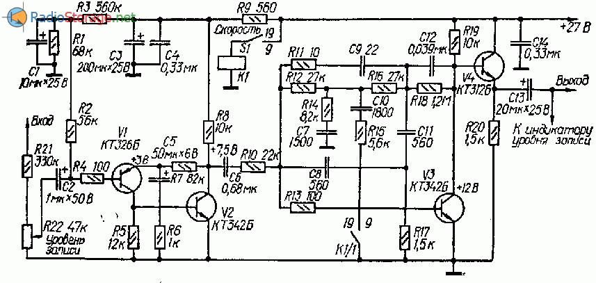 Схема усилителя записи на четырех транзисторах