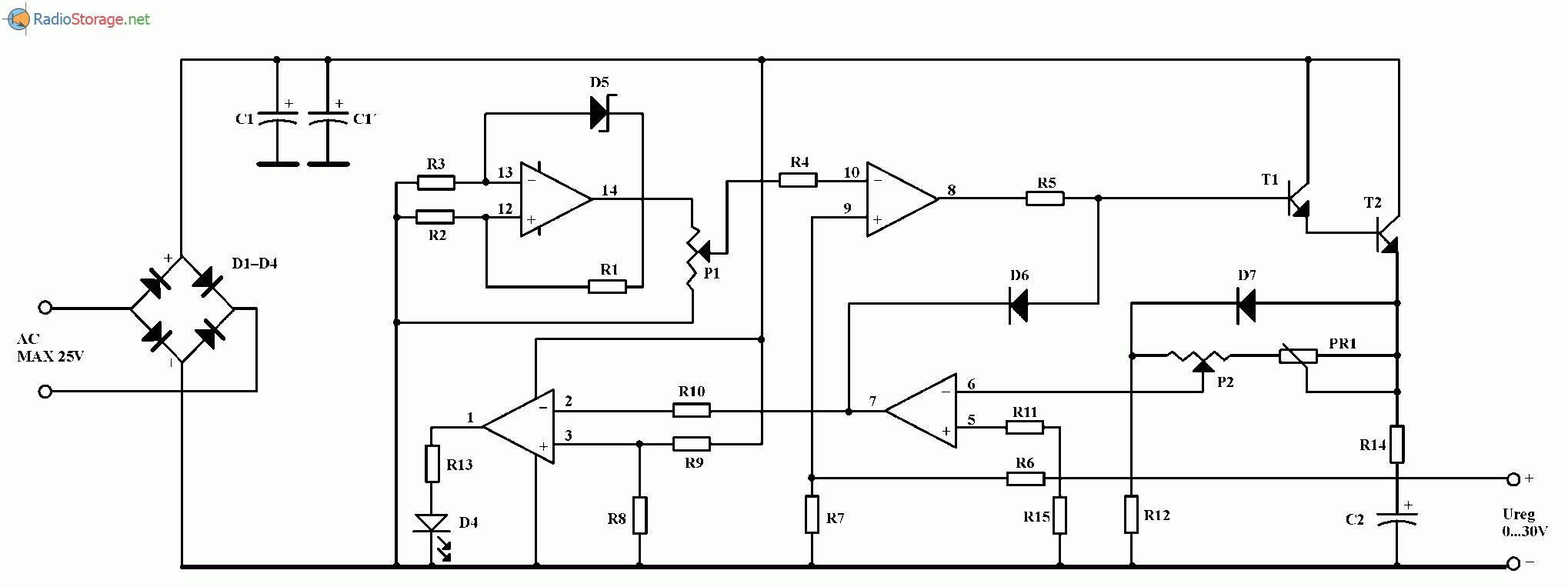 Лабораторный источник питания на микросхеме LM324 (0-30 В, 1 А), схема