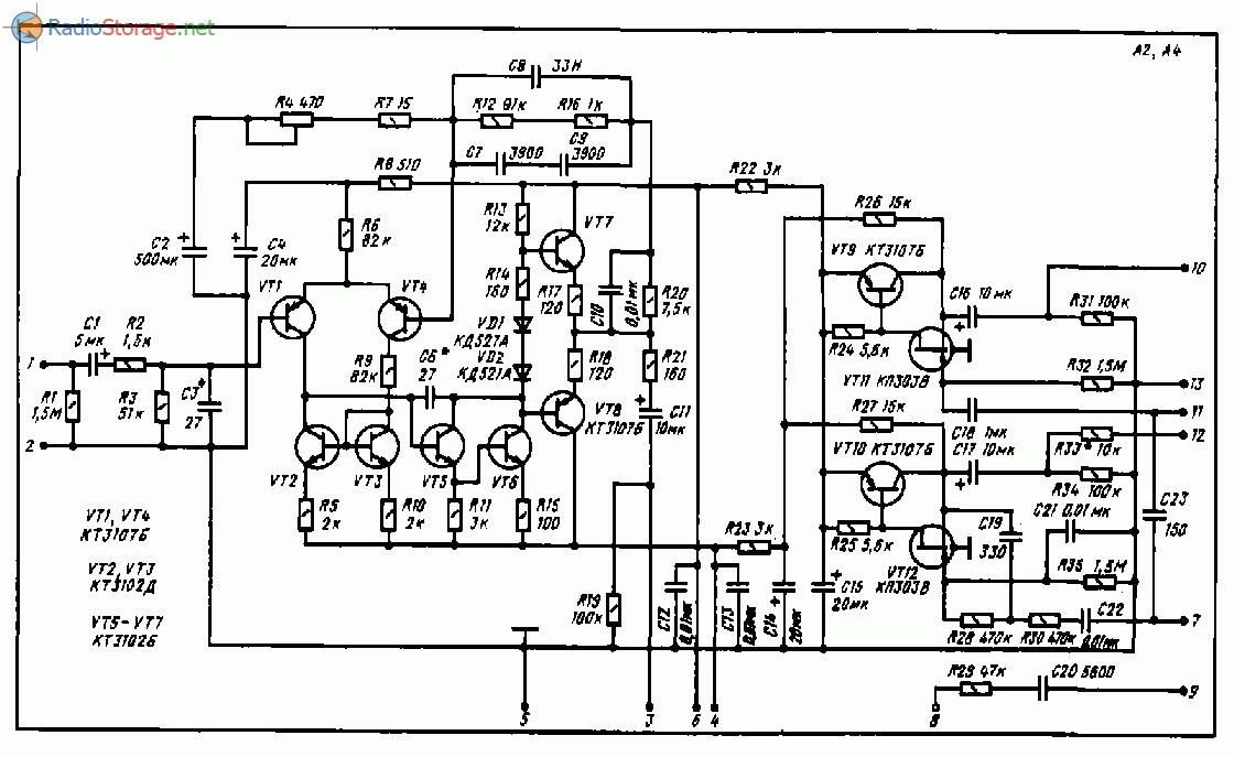 Усилитель Ласпи 005 стерео, схема