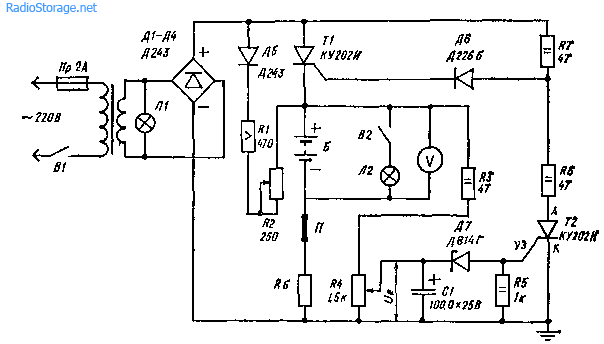 Схема автоматической подзарядки аккумуляторов в системе аварийного питания