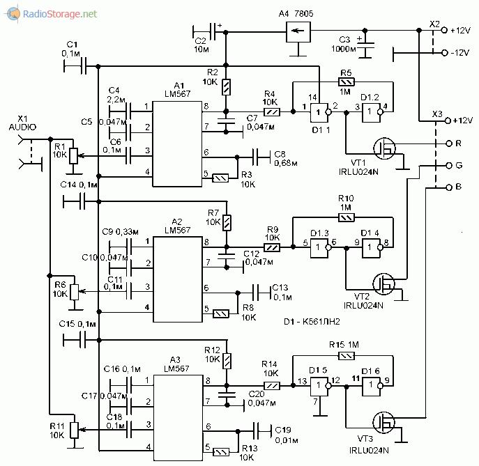 Принципиальная схема цветомузыкальной приставки для управления RGB лентой