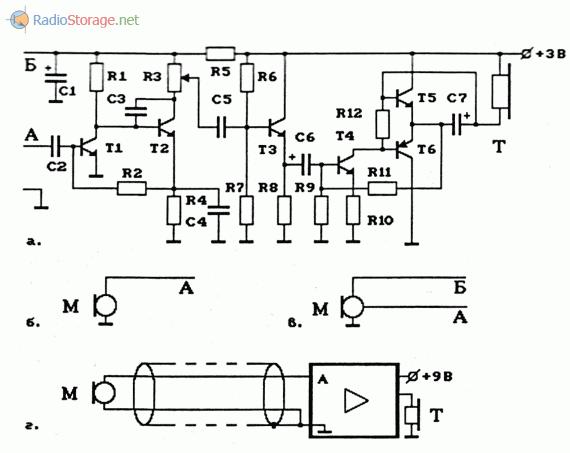 Схема УНЧ на транзисторах и варианты подключения микрофонов