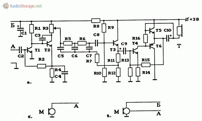 Схема УНЧ на транзисторах с полосовым фильтром и варианты подключения микрофонов