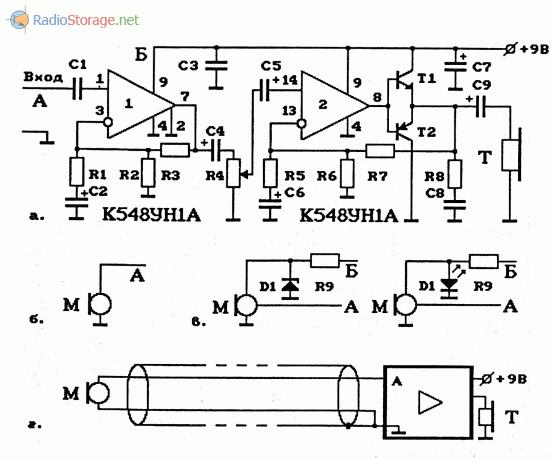 Схема УНЧ на ОУ К548УН1А и варианты подключения микрофонов
