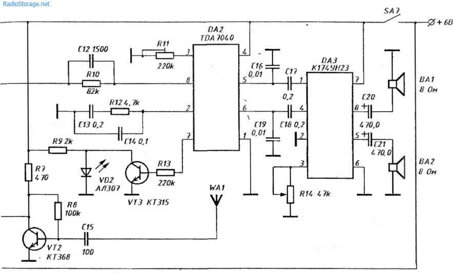 Схема стерео приемника с цифровой шкалой 65-110МГц