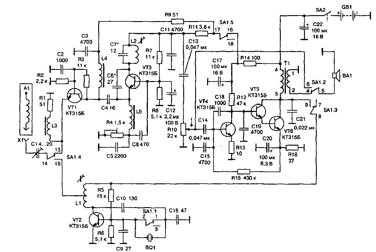Принципиальная схема самодельного транзисторного АМ трансивера на диапазон 27МГц