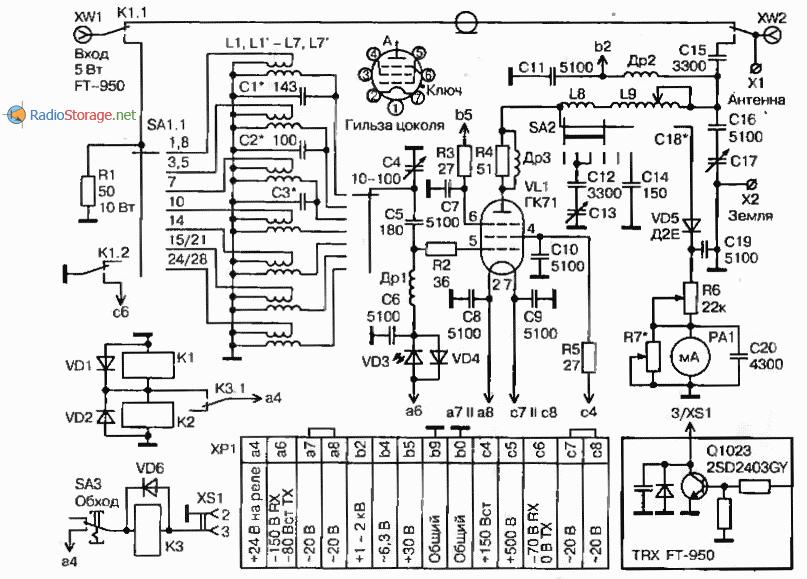 Усилитель мощности на лампе ГК71 (диапазоны 10-160м, 500Вт), схема