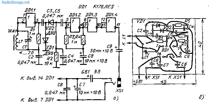 Схема малогабаритного радиоприемника на микросхеме К176ЛЕ5