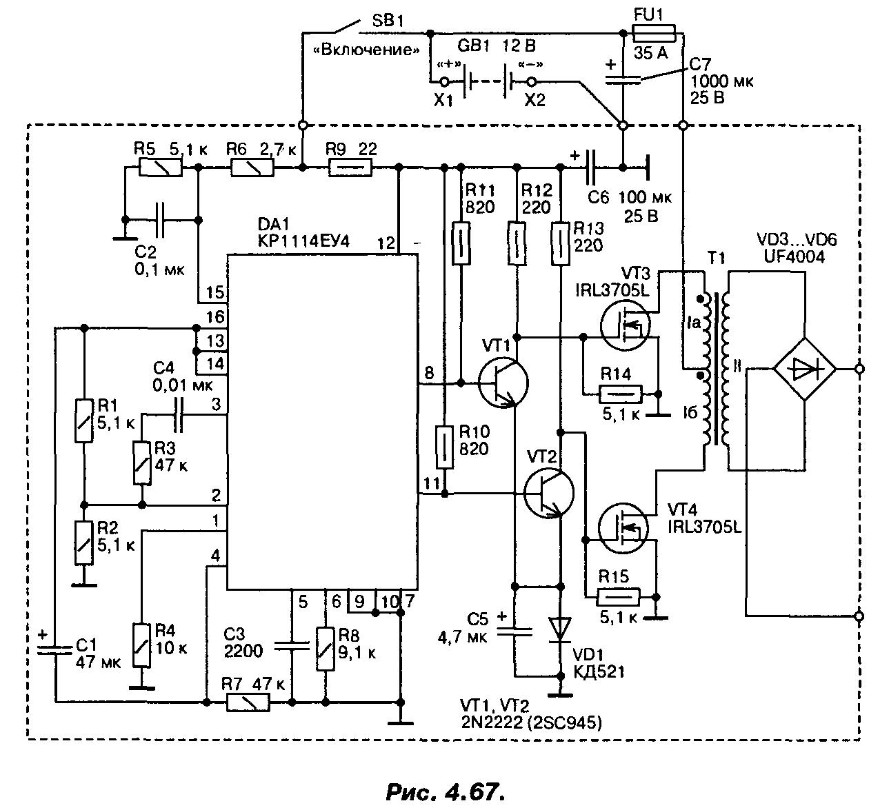 Tl494 и полевые транзисторы схема