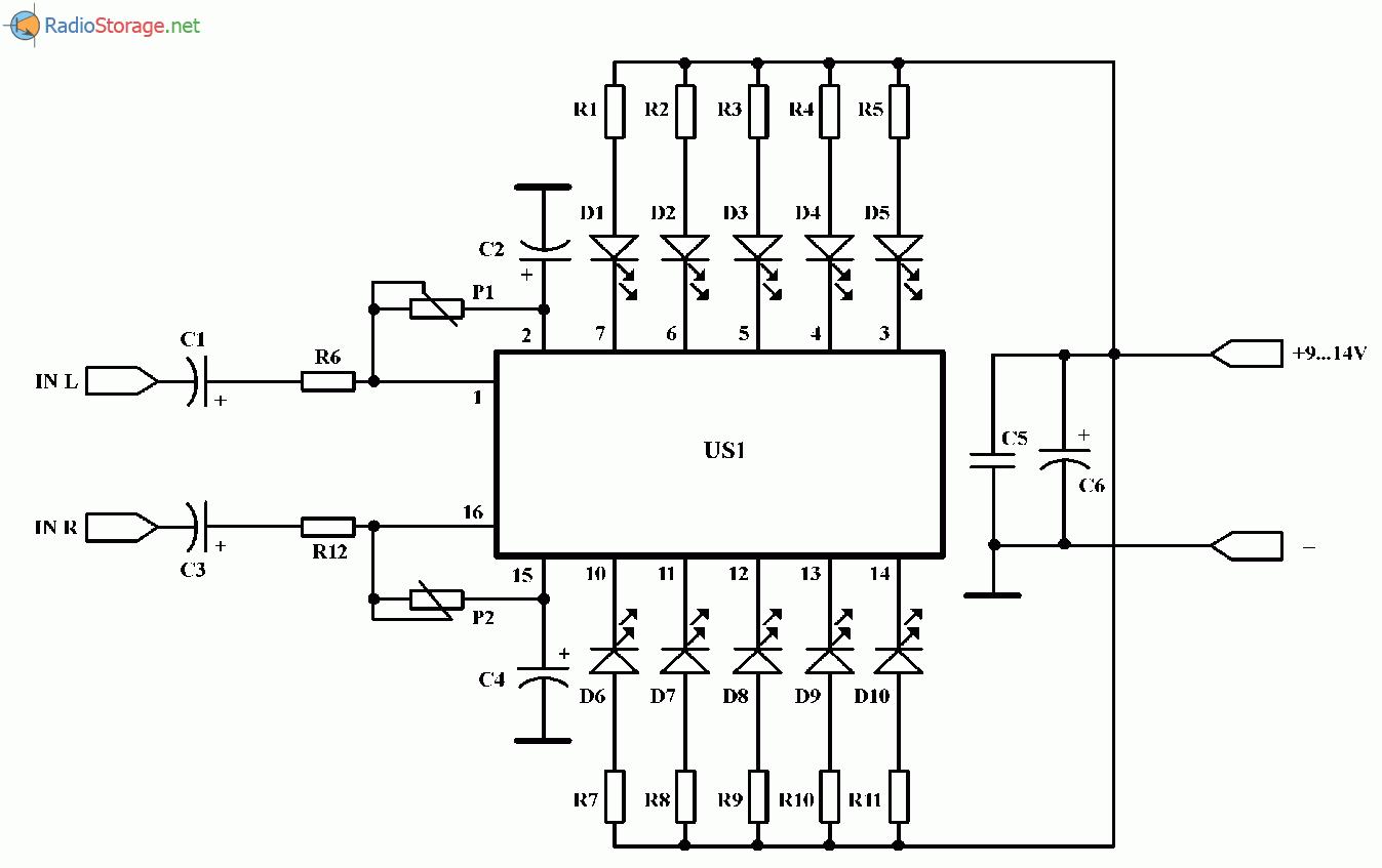 Логарифмический двухканальный индикатор уровня сигнала (КА2281), схема