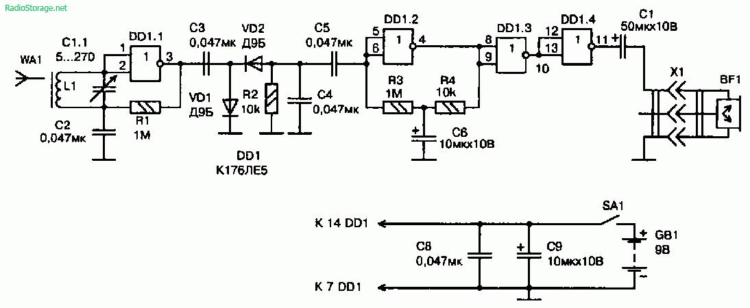 Схема радиоприемника прямого усиления на логической микросхеме К176ЛЕ5
