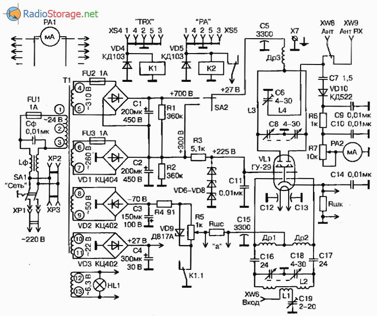 Усилитель мощности на УКВ диапазоны 50МГц(40Вт) и 144 МГц(16Вт), схема