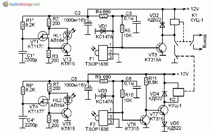 Принципиальная схема простого фотодатчика для конвейера